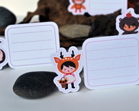 Fall Dolls Shaped Mini Note Cards