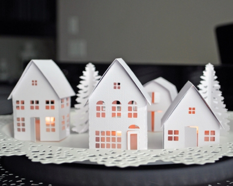 Paper Tea Light Village made with Silhouette Cameo