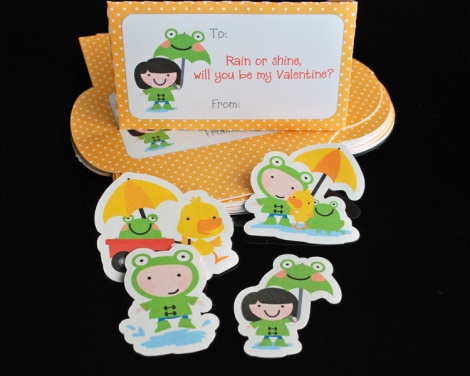 Puddle Jumping Themed Valentine Envelopes and Stickers